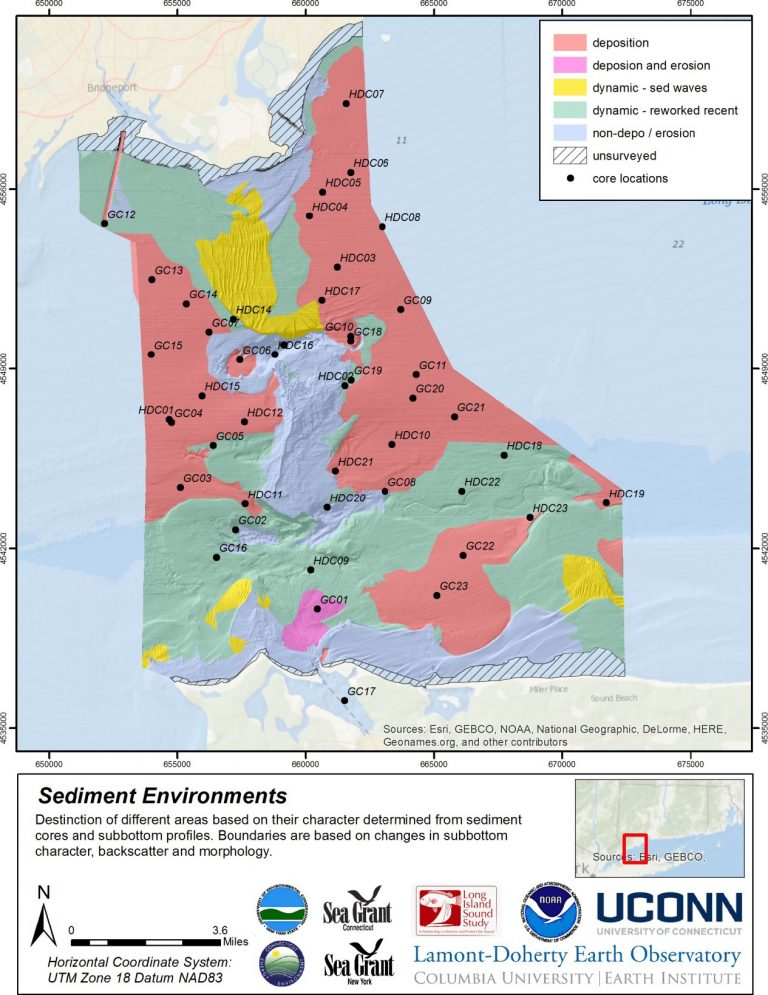 Map of sedimentary environments derived from sub-bottom profiles and sediment cores