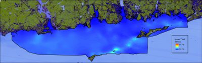 Map of predicted mean tidal bottom stress in the Phase II area
